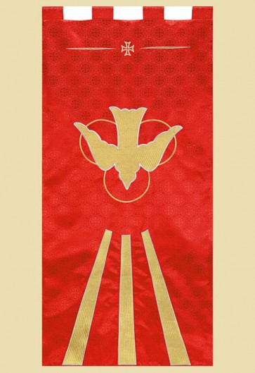 "R.J. Toomey Maltese Cross Series ""Descending Dove"" 2'W X 4'H Worship Banner"