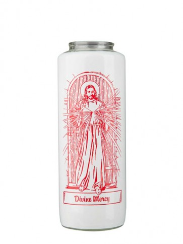 Dadant Candle Divine Mercy 6-Day, Glass Devotional Candle - Case of 12 Candles