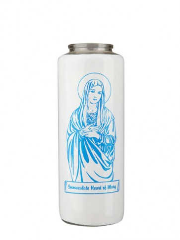 Dadant Candle Immaculate Heart of Mary 6-Day, Glass Devotional Candle - Case of 12 Candles