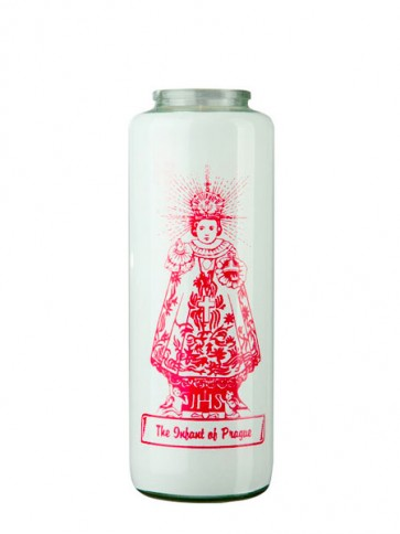 Dadant Candle Infant Jesus of Prague 6-Day, Glass Devotional Candle - Case of 12 Candles