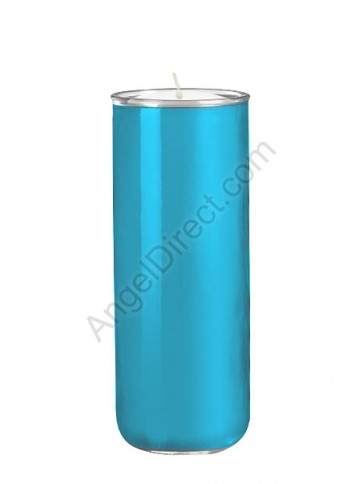 Dadant Candle No. 3 Marian Blue, 6-Day, Open-Mouth Glass Devotional Candle - Case Of 12 Candles
