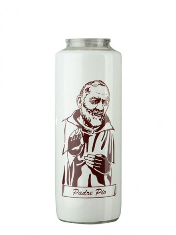 Dadant Candle Padre Pio 6-Day, Glass Devotional Candle - Case of 12 Candles