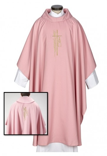 R.J. Toomey Alpha Omega Collection Rose Monastic Chasuble With Cowl Neck And Inner Stole