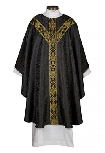 R.J. Toomey Avignon Collection Black Semi-Gothic Chasuble With Inner Stole