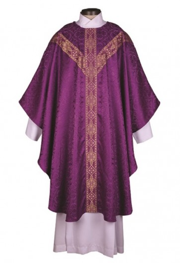 R.J. Toomey Avignon Collection Purple Semi-Gothic Chasuble With Inner Stole