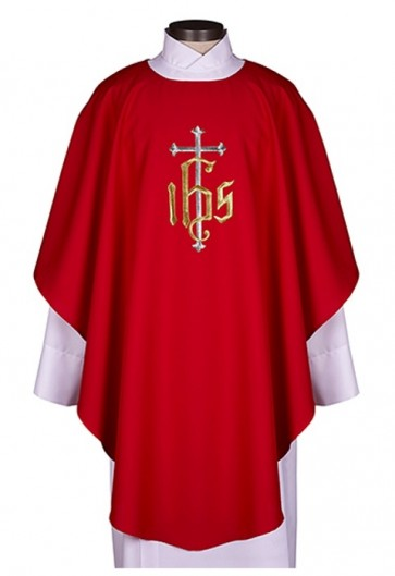 R.J. Toomey IHS Collection Red Chasuble With Inner Stole