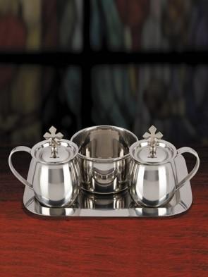 Sudbury Brass Stainless Steel Cruet Set with Matching Tray and Bowl