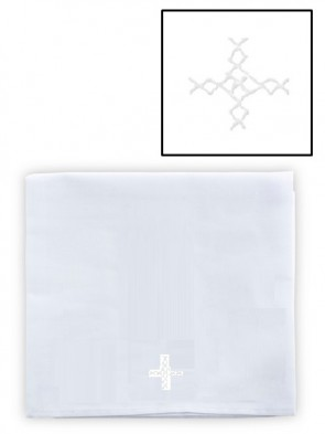 Abbey Brand Polyester/Cotton White Cross Large Corporal - Pack of 3 Linens