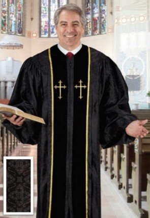 Cambridge Black Jacquard Embroidered Cross Pulpit Robe
