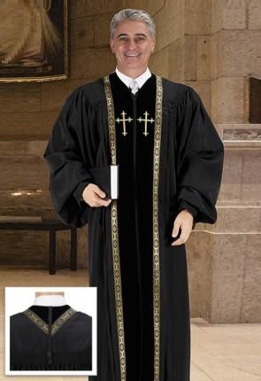 Cambridge Black Embroidered Peachskin Pulpit Robe