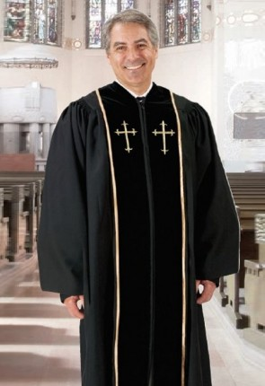 Cambridge Black Embroidered Cross Pulpit Robe