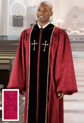 Cambridge Burgundy Jacquard Embroidered Cross Pulpit Robe