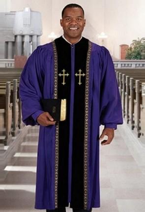 Cambridge Purple Peachskin Embroidered Cross Pulpit Robe