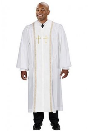 Cambridge White Peachskin Embroidered Cross Pulpit Robe