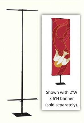 Celebration Banners 2'W X 8'H Adjustable Banner Stand for Pole Hem Banners