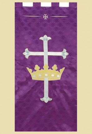 "R.J. Toomey Maltese Cross Series ""Cross With Crown"" 2'W X 4'H Worship Banner"