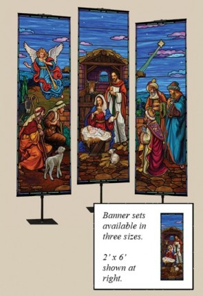 Celebration Banners Stained Glass Nativity Series 2'W X 6'H Set of Three Worship Banners