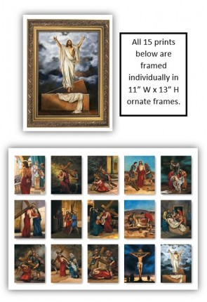Celebration Banners Stations of the Cross Series Set of 15 Individually-Framed Prints