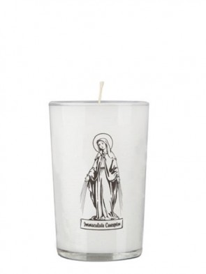 Dadant Candle Immaculate Conception 24-Hour Glass Prayer Candle - Case of 12 Candles