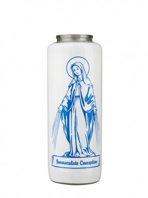 Dadant Candle Immaculate Conception 6-Day, Glass Devotional Candle - Case of 12 Candles