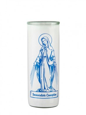 Dadant Candle Immaculate Conception Glass Globe - Case of 12 Globes