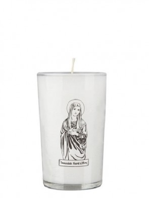 Dadant Candle Immaculate Heart of Mary 24-Hour Glass Prayer Candle - Case of 12 Candles