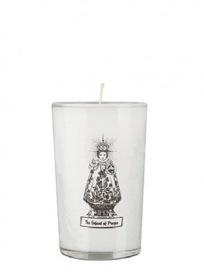 Dadant Candle Infant Jesus of Prague 24-Hour Glass Prayer Candle - Case of 12 Candles