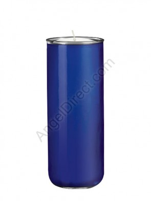 Dadant Candle No. 3 Blue, 6-Day, Open-Mouth Glass Devotional Candle - Case Of 12 Candles
