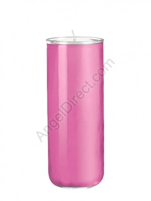 Dadant Candle No. 3 Frost Pink, 6-Day, Open-Mouth Glass Devotional Candle - Case Of 12 Candles
