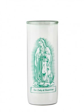 Dadant Candle Our Lady of Guadalupe Glass Globe - Case of 12 Globes