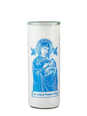 Dadant Candle Our Lady of Perpetual Help Glass Globe - Case of 12 Globes