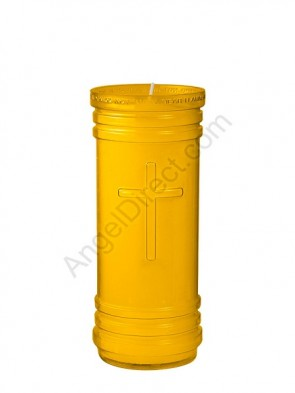 Dadant Candle P-Series Amber, 5-1/2 Day, Plastic Devotional Candle - Case Of 24 Candles