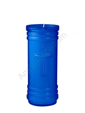 Dadant Candle P-Series Blue, 5-1/2 Day, Plastic Devotional Candle - Case Of 24 Candles