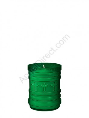 Dadant Candle P-Series Green, 3-Day, Plastic Devotional Candle - Case Of 24 Candles
