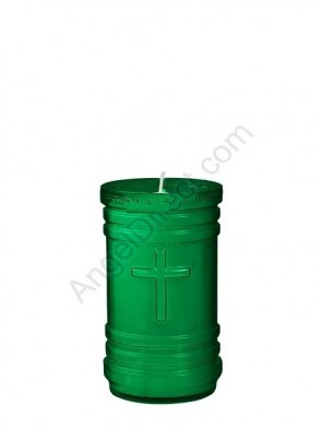 Dadant Candle P-Series Green, 4-Day, Plastic Devotional Candle - Case Of 24 Candles