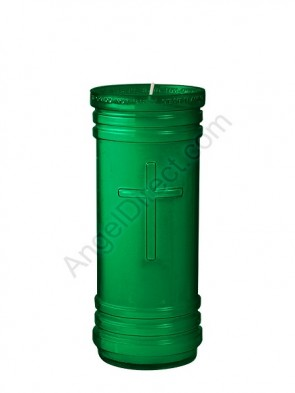 Dadant Candle P-Series Green, 5-1/2 Day, Plastic Devotional Candle - Case Of 24 Candles