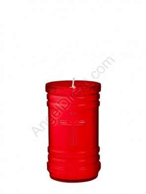 Dadant Candle P-Series Ruby, 4-Day, Plastic Devotional Candle - Case Of 24 Candles
