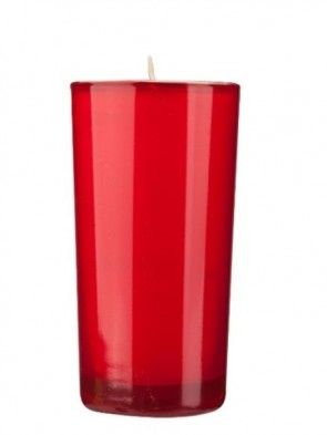 Dadant Candle Paraffin-Based Red, 72-Hour Glass Prayer Candle - Case Of 12 Candles