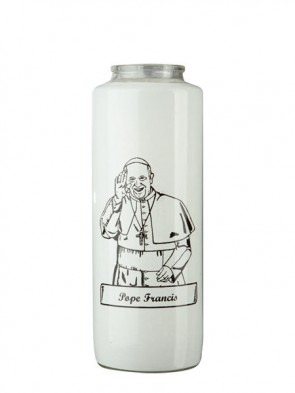 Dadant Candle Pope Francis 6-Day, Glass Devotional Candle - Case of 12 Candles