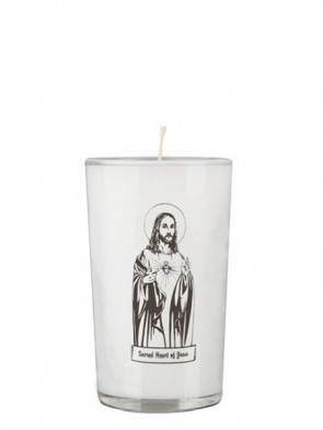 Dadant Candle Sacred Heart of Jesus 24-Hour Glass Prayer Candle - Case of 12 Candles