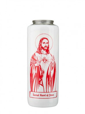 Dadant Candle Sacred Heart of Jesus 6-Day, Glass Devotional Candle - Case of 12 Candles