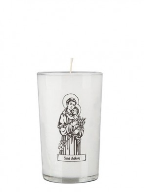 Dadant Candle Saint Anthony 24-Hour Glass Prayer Candle - Case of 12 Candles