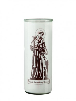 Dadant Candle Saint Francis of Assisi Glass Globe - Case of 12 Globes