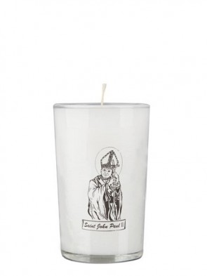 Dadant Candle Saint John Paul II 24-Hour Glass Prayer Candle - Case of 12 Candles