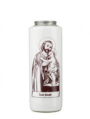 Dadant Candle Saint Joseph and Child 6-Day, Glass Devotional Candle - Case of 12 Candles