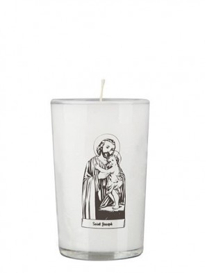 Dadant Candle Saint Joseph and Child 24-Hour Glass Prayer Candle - Case of 12 Candles