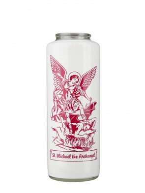 Dadant Candle Saint Michael the Archangel 6-Day, Glass Devotional Candle - Case of 12 Candles