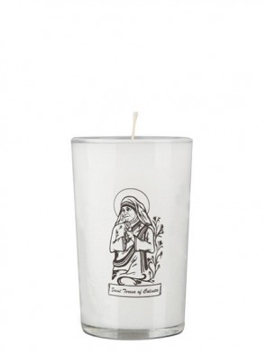 Dadant Candle Saint Teresa of Calcutta 24-Hour Glass Prayer Candle - Case of 12 Candles