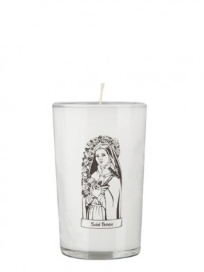 Dadant Candle Saint Thérèse of Lisieux 24-Hour Glass Prayer Candle - Case of 12 Candles