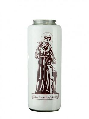 Dadant Candle Saint Francis Of Assisi 6-Day, Glass Devotional Candle - Case Of 12 Candles